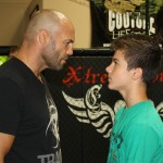 Randy Couture and Mike staring each other down at Randy's gym in Las Vegas.